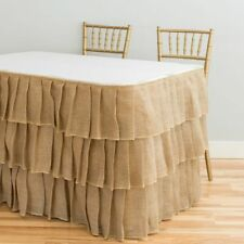 Tiered Ruffle Burlap Table Skirt 14/ 17/ 21 ft. Wedding Party Event Decoration