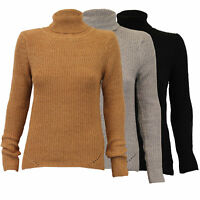 ladies womens cable knitted polo neck sweater pullover jumpers by Brave Soul
