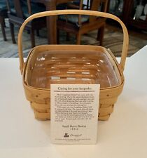 Longaberger Small Berry Basket #11312 w/ Swing Handle and Plastic Protector 1998