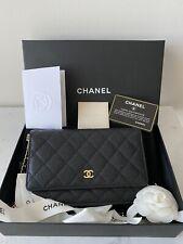 Authentic CHANEL Caviar Wallet On Chain WOC Black Shoulder Bag Crossbody
