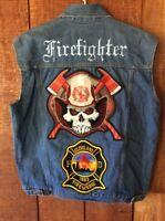 Cleveland Firefighter Custom Embroidered Patched Motorcycle Denim Vest L Large