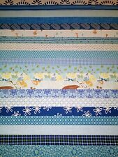 "20 Pre-cut Cotton Quilting Fabric Strips jelly roll 2"" x 18""  Blue"