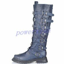 Womens Buckle Metal Motorcycle Winter Combat Knee High Boots Shoes ALL US Sz Hot