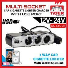 12v 3 vías toma de alimentación de Mechero de Coche Cargador Adaptador Dual USB Puerto Tripl