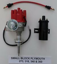 PLYMOUTH 273-318-340-360 RED Small Female Cap HEI Distributor + BLACK 45K Coil