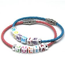 Childs Teenager Kids Leather Personalised ID Bracelet Any Name White Letters