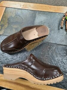 Troentorps brown clogs size 39 US 8.5 wooden sole