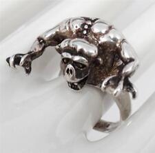 HUGE HEAVY Gothic Cast Sterling Gargoyle Men's Ring Size 12.5 Goth 20.4 grams