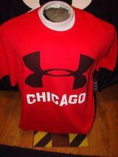 NWT UNDER ARMOUR RED BLACK CHICAGO ILLIONIS WINDY CITY SHORT SLEEVE SHIRT LARGE