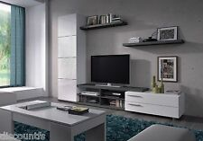 Abriella TV Media Full Wall Unit Ash Grey on White Melamine Veneer