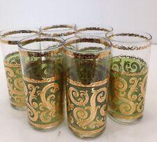 Lot Set 6 Mid Century Culver Toledo 12 Ounce Tumbler Glasses MCM green gold 60's