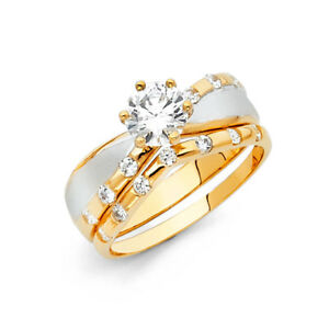 14k Yellow White Real Gold CZ Solitaire His Hers Wedding Trio Set Ring Band