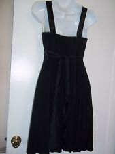 TABOO Women's Size M~Empire Waist Black Party Dress Pleats VTG~EMBELLISHED STRAP