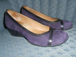 """Softspots Purple Suede & Patent Leather Pump, 9.5 W, 2"""" Wedge Heel"""