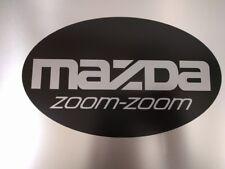 "Mazda zoom-zoom Oval Vinyl Decal Sticker Silver Metallic / Satin Black 9"" x 5.5"""