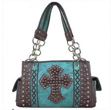 Concealed Carry Gun Handbag Case Rhinestone Womens Purse Studded Cross Turquoise