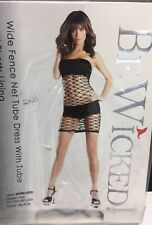 (110560)NWT Be Wicked! Black Wide Fence Net Tube Dress With Tube&Shorts Lining