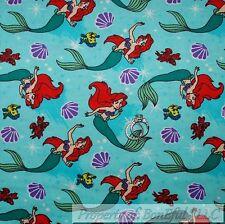 BonEful Fabric FQ Flannel Cotton Aqua Red Disney Quilt Ariel Little Mermaid Fish