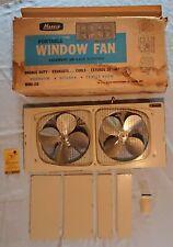 """Vtg Grey 1970's Marvin Portable Metal Twin 8"""" Window Fan, Model 210"""