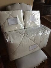 Pottery Barn LINEN SILK COMFORTER IVORY KING-CAL KING W/3 STANDARD SHAMS quilted
