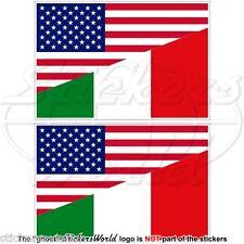 USA Uni Unis Amérique Et En Italie Drapeau 100mm Autocollants - Stickers x2