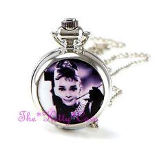 Miniatur Silber Audrey Hepburn Tasche Halb Jäger Steampunk Halskette Taschenuhr