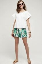 NEW Anthropologie Elevenses green ivory Leaf Drapy Pleat Overlay Shorts Skort 0