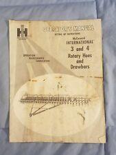 International Harvester 3 & 4 Rotary Hoes and Drawbars Operator's Manual