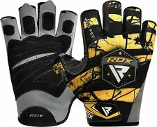 RDX Gym Weight Lifting Gloves Body Building Training Workout Straps Fitness XL Yellow