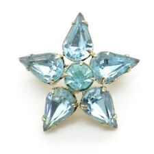 Vintage Baby Blue Small Pin Brooch Prong Set Silver Tone Star