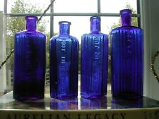 4  cobalt blue  poison medicine chemists bottles not to be taken