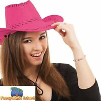 HOT PINK LEATHER STITCHED COWBOY HAT Ladies Womens Fancy Dress Costume Accessory