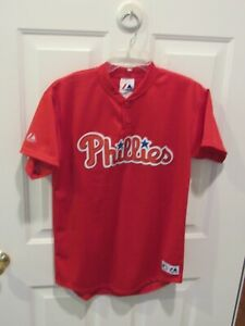 Philadelphia Phillies MLB Baseball Jersey boys sz XL mesh red USA made Majestic