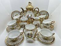 Vintage BAVARIA German Porcelain TEA SET 26 Pc Gold Music Scene Guitar Victorian