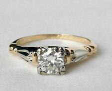 Vintage 14K Gold ROSE BLOSSOM .44Ct Diamond Engagement Ring Inscribed+Dated 1945