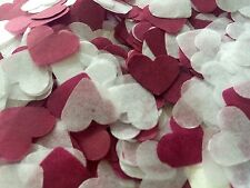 Borgoña Y Corazón Blanco Boda confetti-party Mesa Decoraciones-Biodegradable
