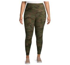 Terra & Sky Women's Plus Printed Leggings size 5X Green Camouflage High Rise