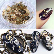 Time Steam Punk Gear Style Gold Metal Studs DIY Nail Art Decoration Wheel Decal