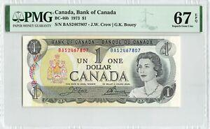 CANADA $1 Dollar 1973, BC-46b, Crow Bouey, PMG 67 EPQ Super Gem UNC, Rare Grade