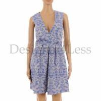 MATTHEW WILLIAMSON Dress Silver Blue Pattern V Neck Cotton Size UK 10 SW 190