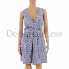 Matthew Williamson Dress Silver Blue Pattern V Neck Cotton Size UK 10 SW 190