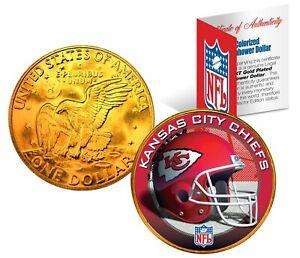 KANSAS CITY CHIEFS NFL LICENSED 24K Gold Plated IKE Eisenhower Dollar U.S. Coin