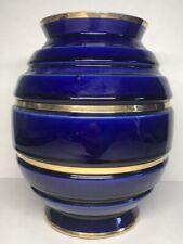 Très Beau Vase Vintage En Céramique Bleu Four Et Or H 22,8 D 17 Cm