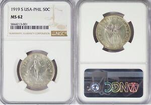 1919-S US/Philippines 50 Centavos ~ NGC MS62 ~ 75% Silver ~ Allen#14.08 ~ 001