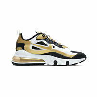 Nike Men's Air Max 270 React White Black Metallic Gold CW7298-100 Running Shoes