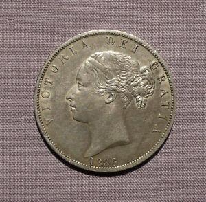 1886 QUEEN VICTORIA YOUNG HEAD SILVER HALFCROWN - High Grade Coin