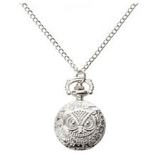 Quartz Pendant Pocket Watch Chain Alloy Silver Arabic Numeral Owl D8Q9