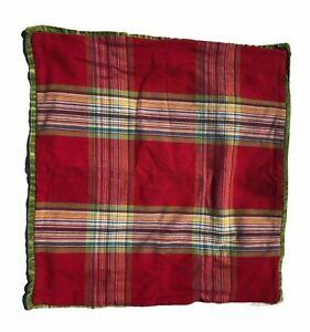 Pottery Barn Pillow Cover Velvet Green Red Plaid 24 x 24