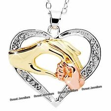 Parent & Child Hand Necklace Crystal Heart Mum Daughter Xmas Gifts For Her Women