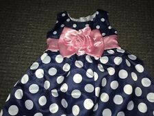 Baby Girl in Raso Abito Festa Età 12-18 mesi NUOVO